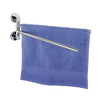 WENKO 17814100 Power-Loc Handtuchhalter mit 2 Armen Elegance, Handtuchhalter, Handtuchstange, Befestigen ohne bohren, Zinkdruckguss, 4 x 35 x 12 cm, Chrom