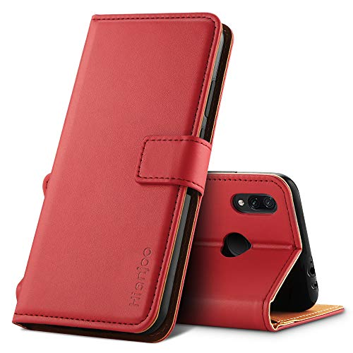 Hianjoo für Xiaomi Redmi Note 7 Hülle, Handyhülle Tasche Premium Leder Flip Wallet Case für Xiaomi Redmi Note 7 [Standfunktion] [Kartenfächern] [Magnetic Closure Snap]- Rot Leder Snap Case