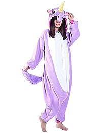 YOGLY Pijama Unicornio para Adultos Pijama Animal Invierno Entero de Franela Unisex Pijama Mono Navidad Pijama