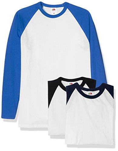 Fruit of the Loom Herren T-Shirt, 3er Pack Multicoloured (White Black/White Navy/White Royal)