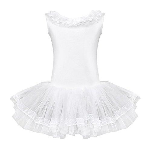 Tutu Mädchen (YiZYiF Kinder Mädchen Ballettkleid Ballettanzug Turnanzug Ballett Trikot Leotard Tütü mit Röckchen Weiß)