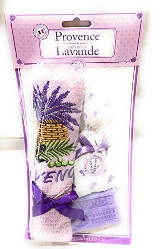 Pec as de coeur Provence Geschirrtuch, Bestickt, Lavendel, Zigale, Olive Farbe Violett + 1 Savon de Marseille Duft Lavendel + 1 Beutel Lavendelblüten - Geschirrtücher Lavendel