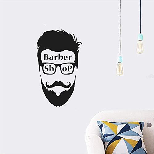 Wandaufkleber Kinderzimmer wandaufkleber 3d Friseur Zeichen Mann Gesicht Wandbild Friseur Hipster Kreative Kunst Friseur Dekoration für Friseursalon -