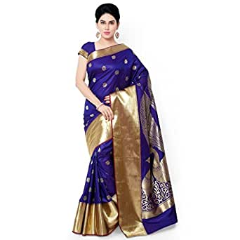 Varkala Silk Sarees Blended Saree (Jb5004Rbv_Blue & Violet)