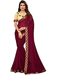Pratham Blue Women's Georgette Saree with Blouse Piece (Purple Free size)