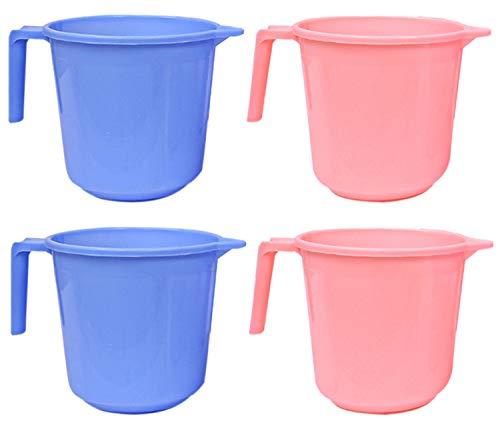 Kuber Industries Plastic 4 Pieces Bathroom Mug Set (Blue & Pink)