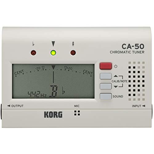 Korg CA-50 Chromatic Tuner (Stimmgerät mit breitem Erfassungsbereich, ideal für Orchsterinstrumente) Weiß
