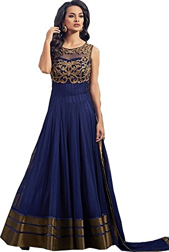 Z Fashion Women\'s Net Semi Stitched Ethnic Gown (Navy Blue Fancy Partywear Gown 001_Navy Blue_Free Size)