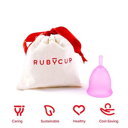 Ruby Cup - Copa menstrual reutilizable (flujo intenso, cérvix alto, tamaño M)- ROSA - Incluye donación de copa. Perfecta para principiantes. Una alternativa a los tampones/compresas práctica y fiable.