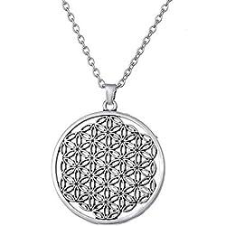 My Shape Collar con Colgante de Flor de la Vida, Mandala Hexagonal Sagrada geometría joyería Flor de Vie para Mujer