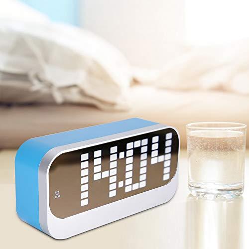 LED Reloj Despertador Digital Superficie de Espejo Relojes de Oficina Amplia Oficina...