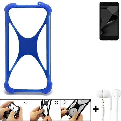 K-S-Trade Handyhülle für Blaupunkt SL Plus 02 Bumper Schutzhülle Silikon Schutz Hülle Cover Case Silikoncase Silikonbumper TPU Softcase Smartphone, Blau (1x), Headphones