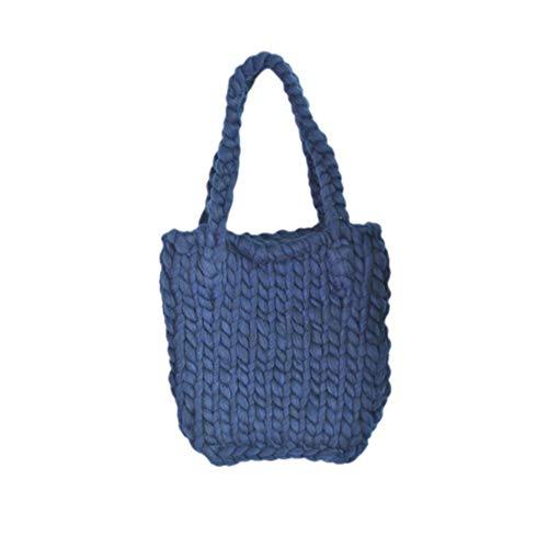 WOKJBGE Rattan Tasche 30 * 33 Dicke einzelne Schulter gewebte Taschen handgemachte gehäkelte gestrickte Dame Tasche für Frauen Mädchen Tasche Handtasche F -