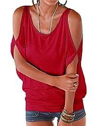 Bigood Top Femme Chic Coton Sexy T-shirt Epaule Nue Chemise Chemisier Col Rond Casual Eté