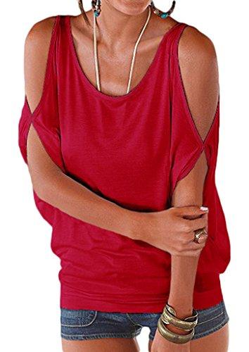 Bigood Top Femme Chic Coton Sexy T-shirt Epaule Nue Chemise Chemisier Col Rond Casual Eté Rouge