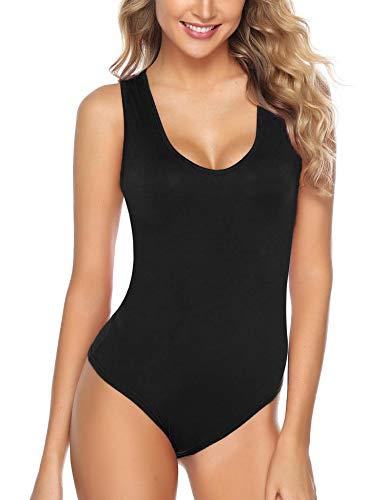 Abollria Body Donna Elegante Bodysuit Elasticizzato Smanicata Body Top da Donna Senza Maniche Un Pezzo per Primavera Estate, Nero, S