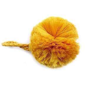 Pompon 30 mm fourrure et attache safran Coloris - Moutarde Prix pour : 1 Aucun - N020901XT/2034 - La Mercerie Chic - Customisation & Bijoux