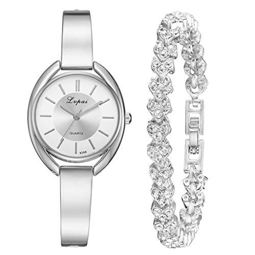 Precioul Damen Uhren Analog Quarz Edelstahl Wasserdicht Mesh Ultradünne Set mit Armreif Augenform Zifferblatt Armband Schmuck qualitativ hochwertige