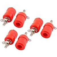 DealMux 6pcs Rojo Binding Post Amplificador Terminal adaptador de audio de 4 mm conector de plátano