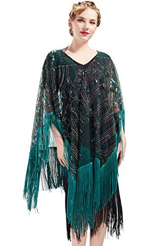 ArtiDeco 1920s Retro Schal Damen Umschlagtücher für Abendkleid Hochzeit Party Braut Schal Gatsby Kostüm Accessoires (Wild Über Sie Kostüm)