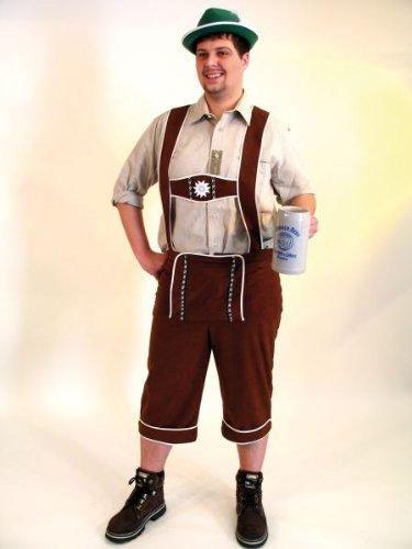 Karneval-Klamotten Kostüm Lederhose Herren braun Bayer Trachten-Hose Oktoberfest Bayer Bayern-Hose Tiroler-Hose Herrenkostüm Größe 52/54