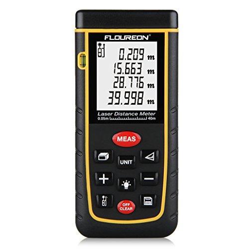 FLOUREON Laser Entfernungsmesser Entfernungsmessgerät Distanzmesser 80m Distanzmessgerät Messbereich ±2mm Messgenauigkeit Distanz Messgerät mit LCD Hintergrundbeleuchtung inkl.Batterie und Schutztasche
