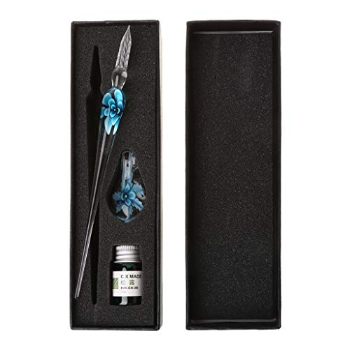 Junlinto Vintage handgefertigte Kunst Elegante Kristall Floral Glas Dip Pen Zeichen Kugelschreiber...