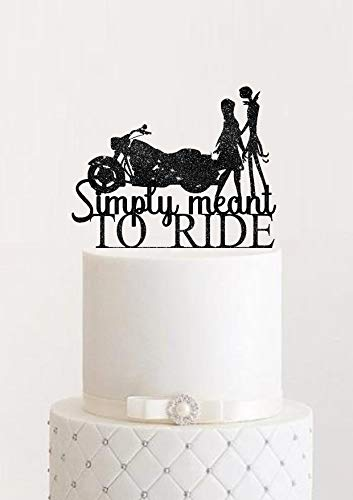 Tortenaufsatz für Motorrad-Hochzeit, AKE Opper Simply Meant To Be Jack and Sally Braut und Bräutigam Hochzeit Harley Davidson AKE Topper