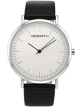 JSDDE Uhren,Einfaches Dünn Armbanduhr Wasserdicht Zeitloses Design Klassisch Kunstleder Quarz Uhrwerk Uhr Schwarz