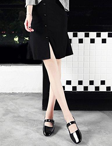 Chaussures Femmes Hwf Printemps Shallow Mouth Single Shoes Chaussures Femme Sandales À Talons Plats Chaussures Casual Pour Femmes (couleur: Noir, Taille: 40) Noir