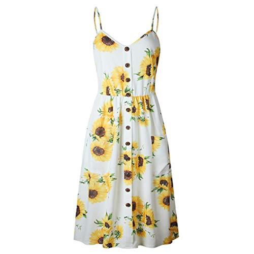 RYIL.G Sexy V-Ausschnitt Backless Blumendruck Sommer Strandkleid Frauen Boho Button Sunflower Daisy Ananas Party Mitte der Wade Kleider White 1 XL -