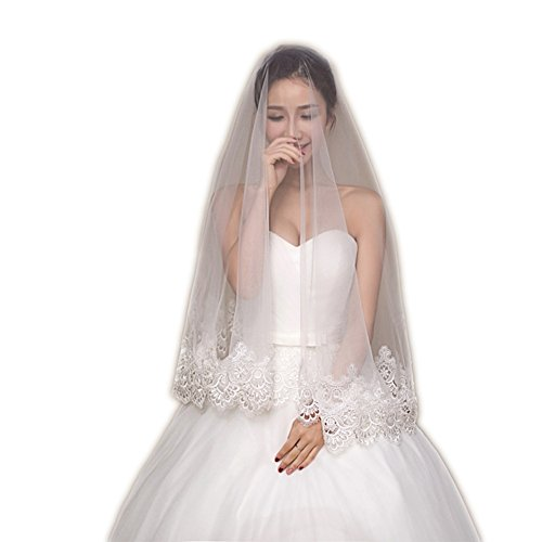 Eudolah Damen Brautschleier Hochzeit Schleier Weiss Lace spitze lang und kurz (One Size, Weiss 009)