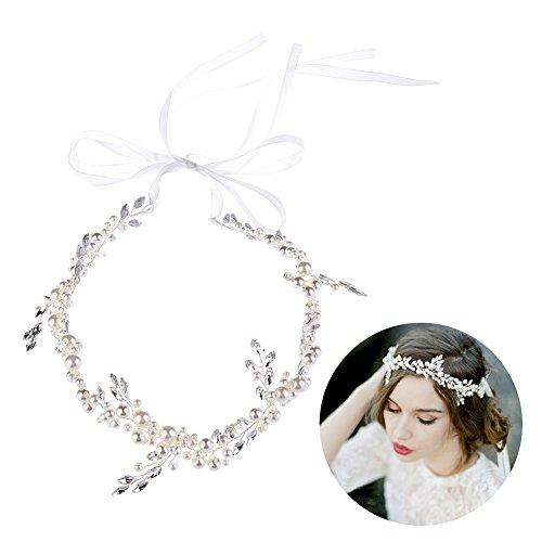 Oshide Haarschmuck Hochzeit Perlen Haarband Mit Strass Romantischer Kopfschmuck&Stirnschmuck (Weiß) (Kleid Perlen Braut Hochzeit)