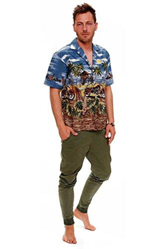 KY's | Original Camicia Hawaiana | Signori | S - 6XL | Maniche Corte | Tasca Frontale | Hawaii Stampa | Motocicletta | Grigio Azzuro grigio blu