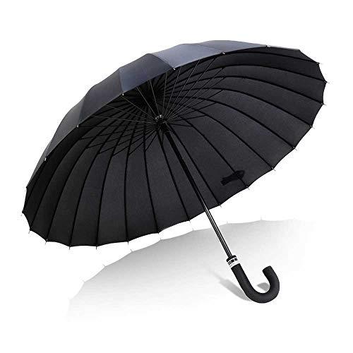 Susulv Parapluie Long Manche pour Augmenter Le Vent et la Pluie et la Pluie Double Usage poignée Droite Parapluie Double Parapluie Droite 24 Floraison d'os (Couleur : Noir)
