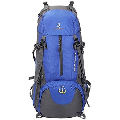 huiguizhe Sport all' aperto 60L impermeabile zaino da escursionismo arrampicata alpinismo borsa da viaggio zaino da trekking con parapioggia, Z0627, Blue, 60 L