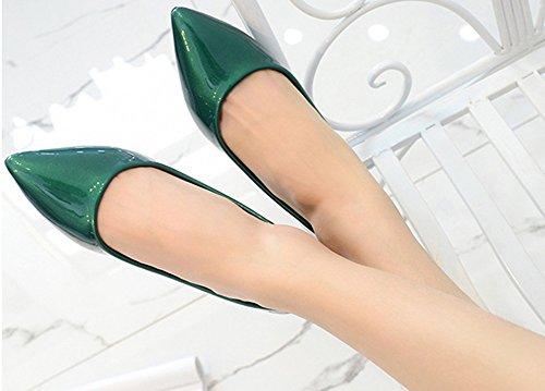 Aisun Femme Sexy Petit Talon Pointue Danse Ballerines Vert