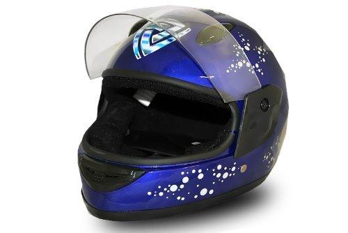 Full Face Helmet Blue Kinderhelm Integralhelm Fullface Motorradhelm (L)