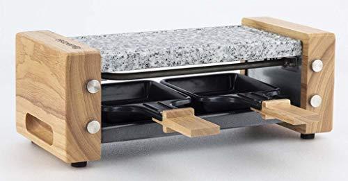 H.Koenig Appareil à raclette Duo Multifonction 2 personnes WOD2 Design en bois naturel, Pierre granit amovible, Raclette fromage fondue professionnel, 2 poêlons antiadhésifs, 2 spatules en bois