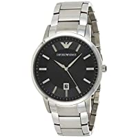 Emporio Armani Sportivo Men's Black Dial Stainless Steel Band Watch - Ar2457, Silver Band, Analog Display