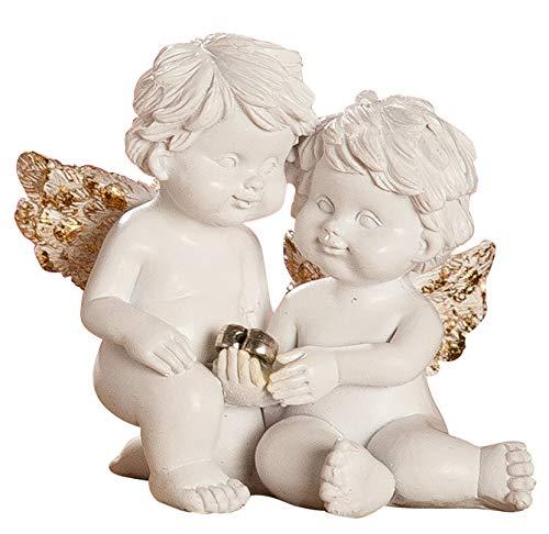 dekojohnson - Schutz-Engel Figur Herz Antik Weiss Gold Grabschmuck Grabdeko liebevolle Grab-Engel Skulptur - 6cm Gross -