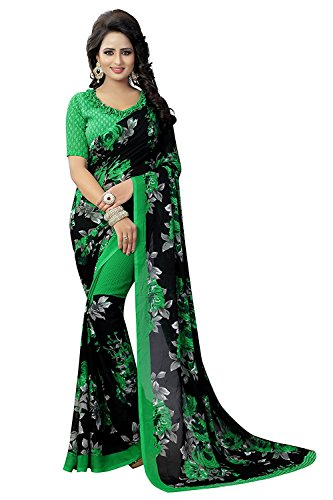 PRAMUKH STORE Faux Georgette Saree (Floral Green_Green_Free Size)