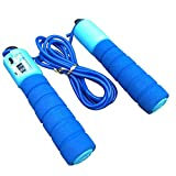 ClookYuan Einstellbare Professionelle Counting Rope Skipping automatische Zählung Springseil Fitness Übung Fast Speed   Zählen Jump Rope - Blau