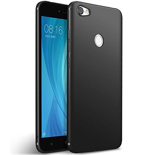 Olliwon Xiaomi Redmi Note 5A Prime Hülle, Passgenaues Anti-Fingerabdruck Dünn Leicht Ultra Slim Schutz Handyhülle Bumper Case für Redmi Note 5A Prime - Matt Schwarz