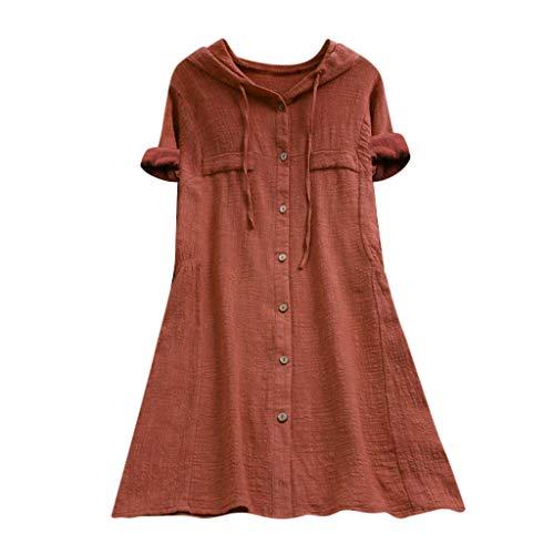 Geilisungren Damen Baumwolle Leinen T Shirt Oversized Einfarbige Knöpfe Oberteile Hoodie Frauen Casual Taschen Bluse Lose mit Kapuze Langarmshirt Hemd Tuniken