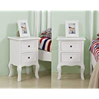 WestWood Vintage Bedside Cabinet Unit Table Nightstands With 2 Drawers Storage Bedroom Home Furniture BCU12 White 1 Pair FSC New