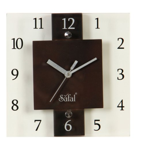 Safal Wooden Wall Clock (20.32 cm x 20.32 cm, Brown, SQ 3639)