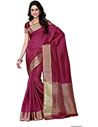 Mimosa Women's Tassar Silk Saree With Blouse Piece (2073-Mej,Mejanta,Free Size)