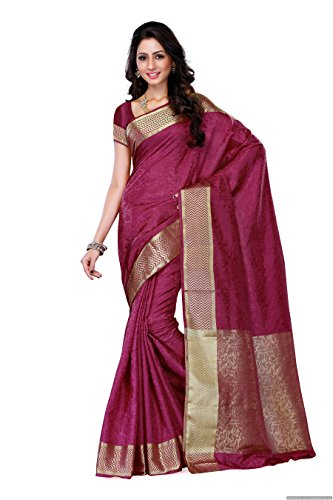 Mimosa Women's Tussar Silk Embouse Woven Saree with Blouse Piece - 2073-MEJ_Magenta_Free...