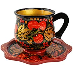 Tazas de té pintadas a mano vintage. Conjunto Ruso para Té. Lacado de Madera